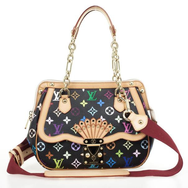 Louis Vuitton Limited Edition Black Monogram Multicolore Gracie MM Bag