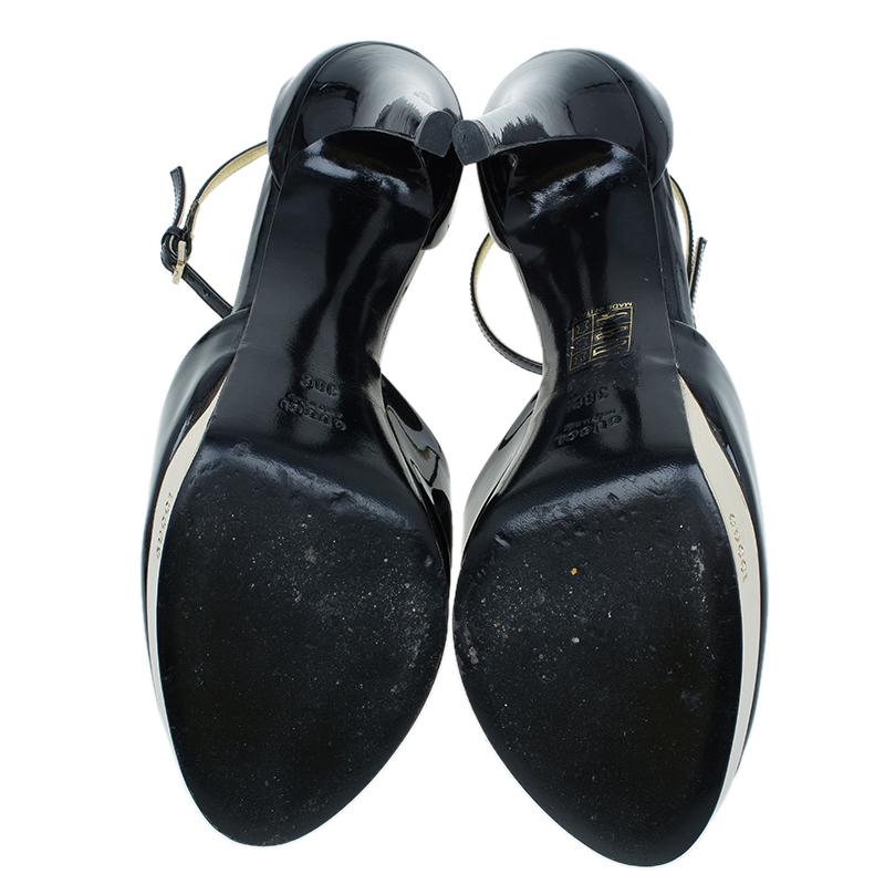 Gucci Black Patent Siam Ankle Strap Sandals Size 38