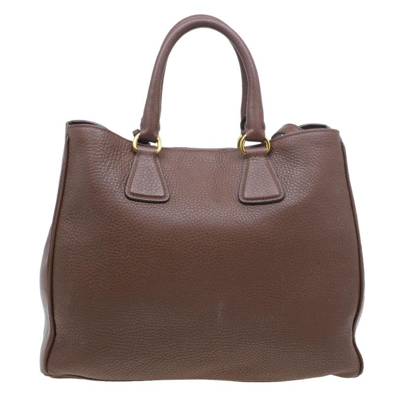 Prada Brown Vitello Daino Leather Shopper Tote