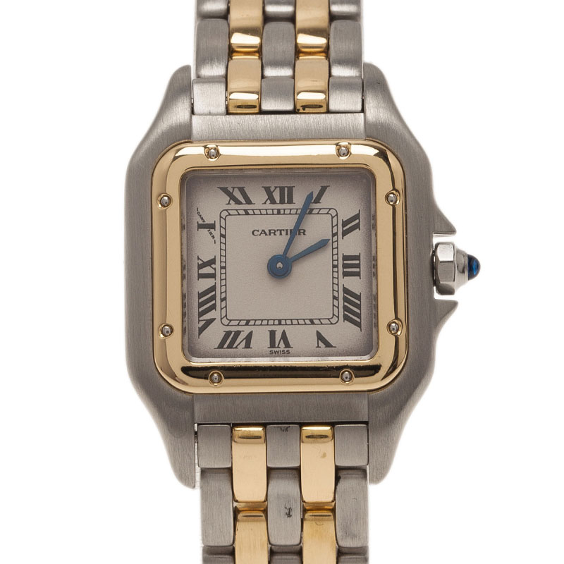 Cartier Cream Stainless Steel and 18K Yellow Gold Mini Panthere Women's Wristwatch 22MM