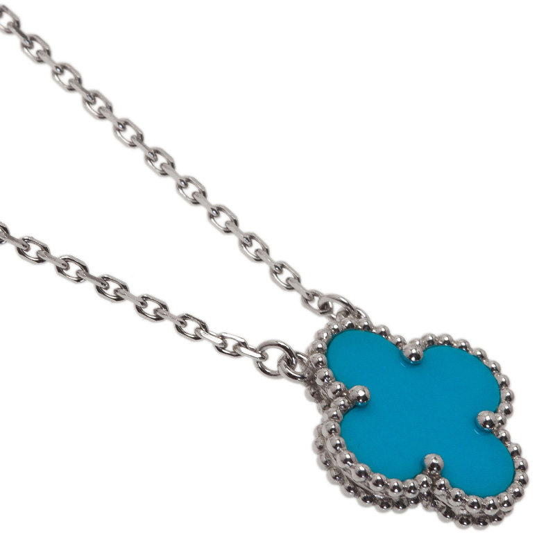 Van Cleef & Arpels Vintage Alhambra Turquoise White Gold Pendant Necklace