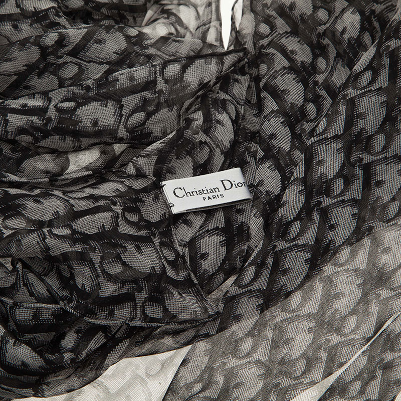 Dior Black Monogram Silk Stole