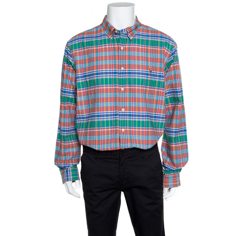 Купить со скидкой Ralph Lauren Multicolor Checked Cotton Logo Embroidered Slim Fit Shirt XXL