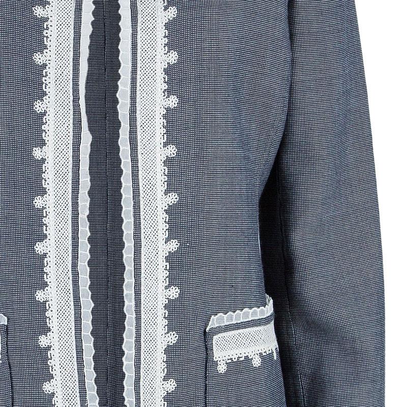 Oscar de la Renta Gray Embroidered Trimming Coat M