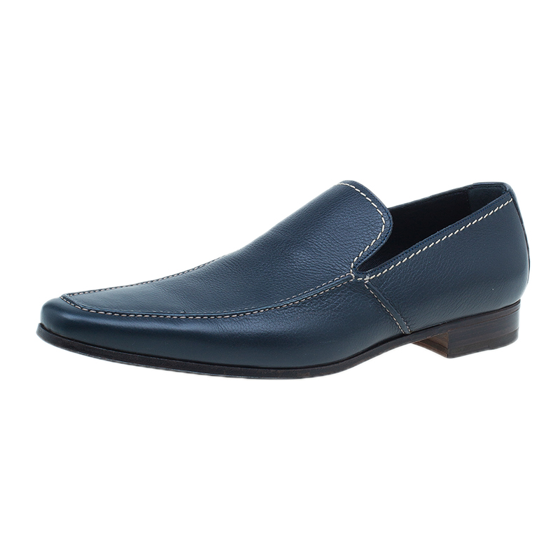 Saint Laurent Paris Blue Leather Loafers Size 41.5