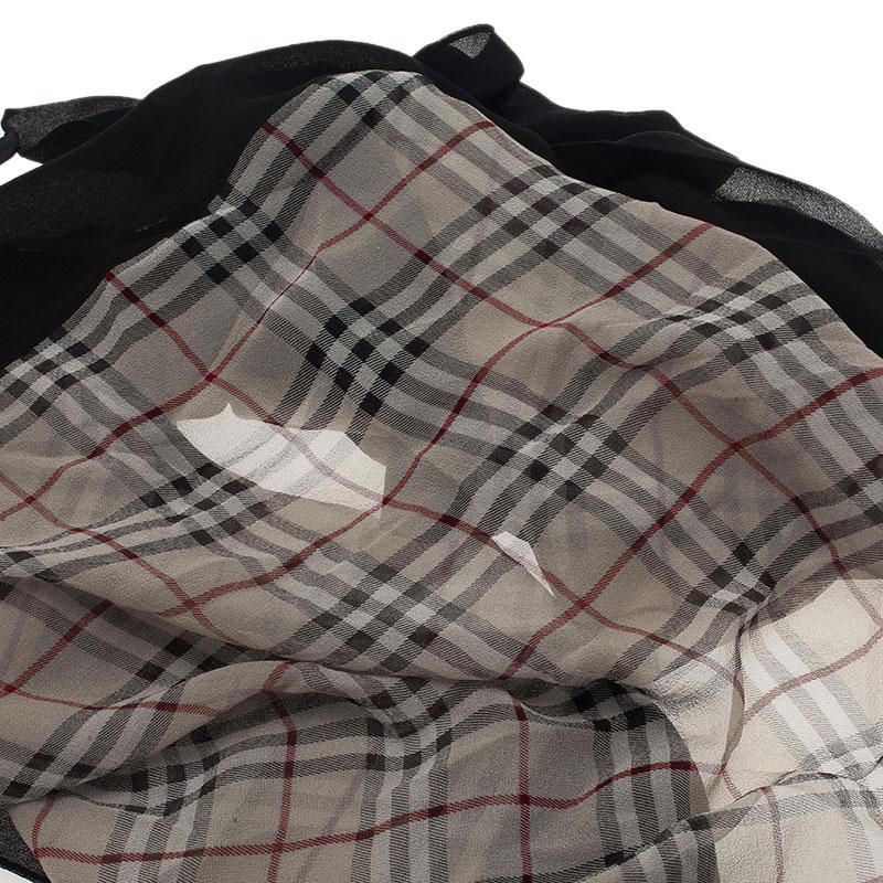 Burberry Black and Beige Novacheck Silk Stole