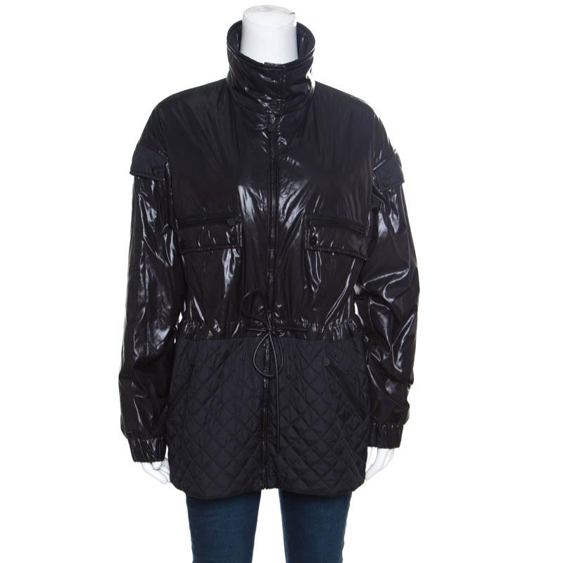 Купить со скидкой Chanel Black Quilted Paneled Tie Detail Zip Front Jacket M