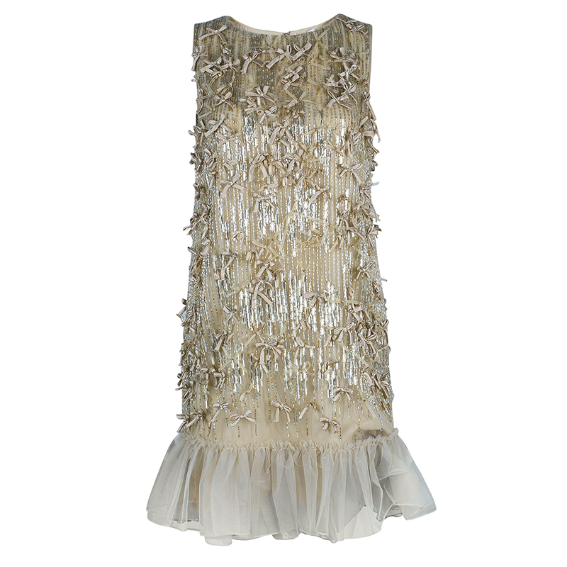 RED Valentino Beige Embellished Sleeveless Dress S