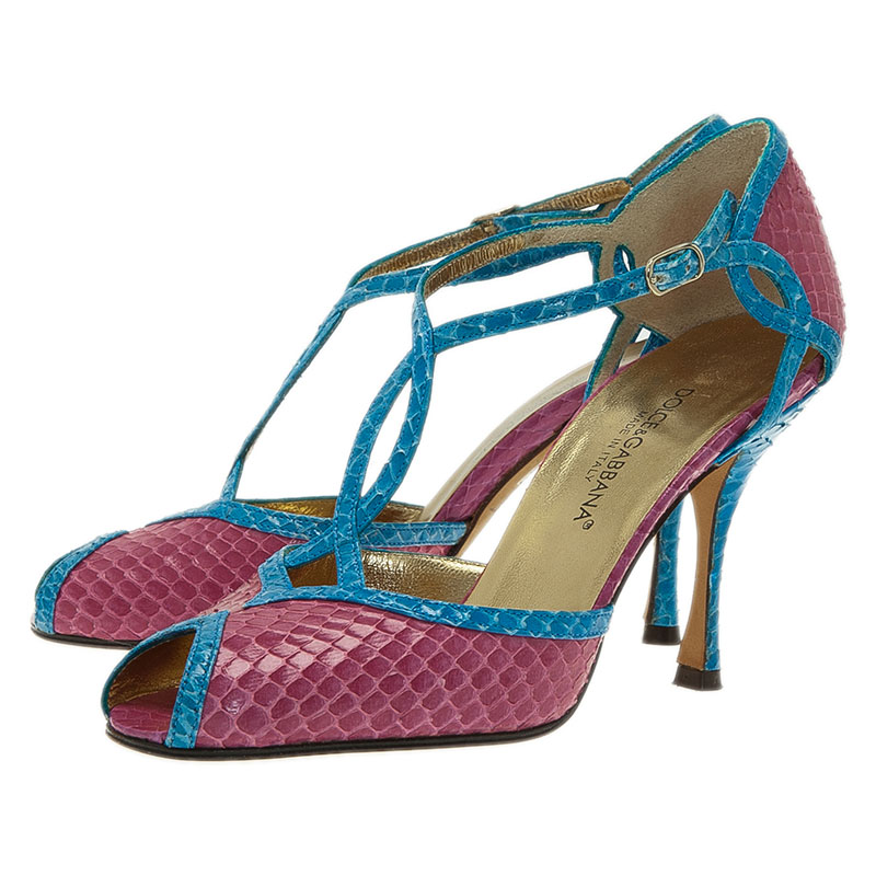 Dolce and Gabbana Blue and Pink Python Ankle Strap Pumps Size 35