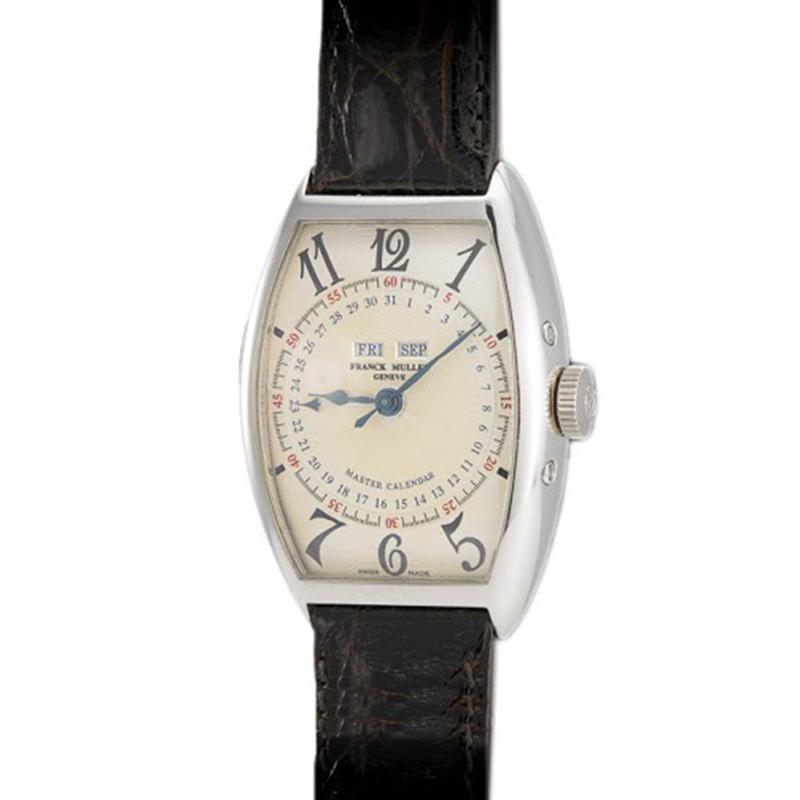 Franck Muller Cream 18K White Gold Cintree Curvex Master Calendar Men's Wristwatch 45MM