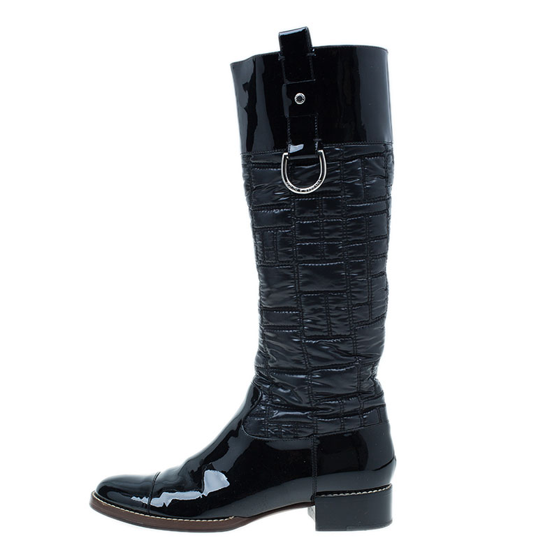 Dolce and Gabbana Black Patent Leather and Quilted Nylon Knee Boots Size 40.5