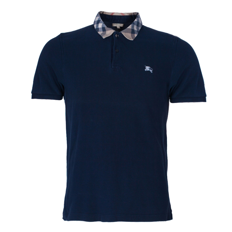 Burberry Men's Navy Blue Polo Shirt L