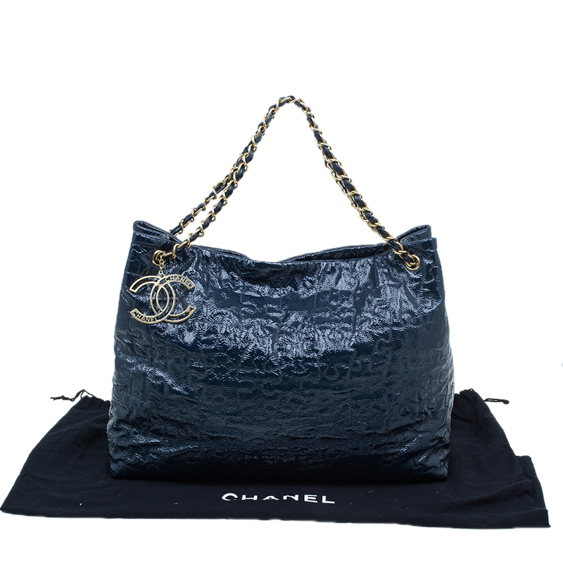 Chanel Navy Blue Quilted Patent Leather Puzzle Large Tote Bag