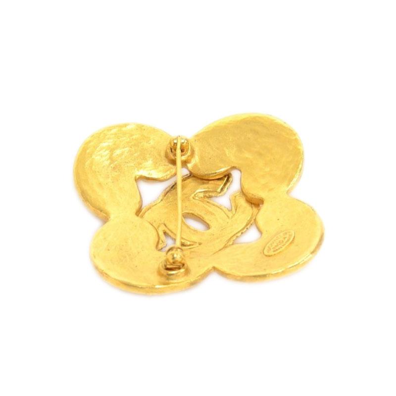 Chanel CC Vintage Gold Tone CC Brooch