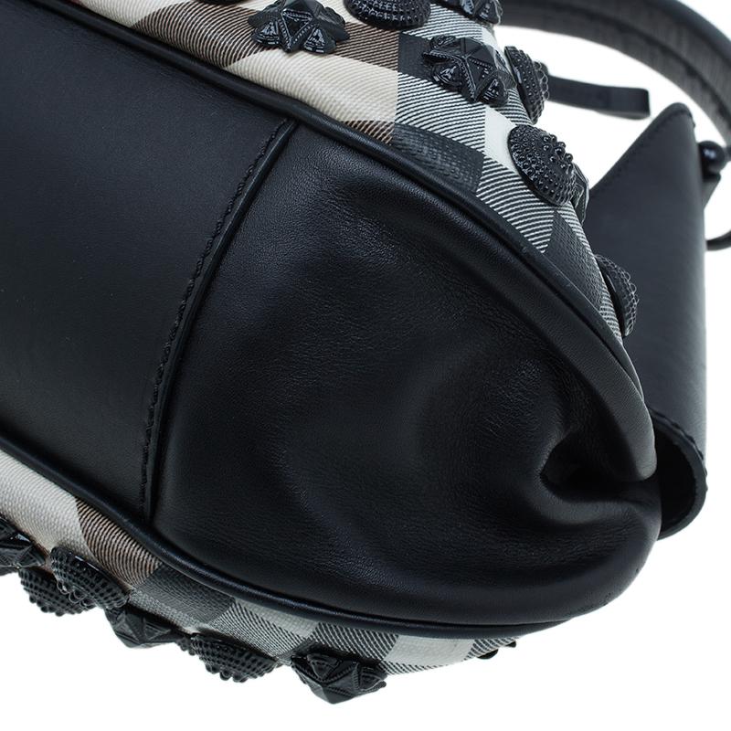 Burberry Black Nova Check Small Warrior Hobo Bag