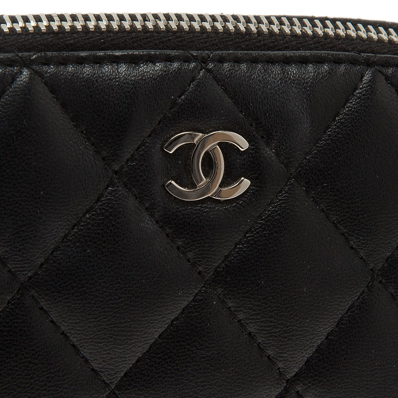 Chanel Black Quilted Leather CC Logo Cosmetic Pouch
