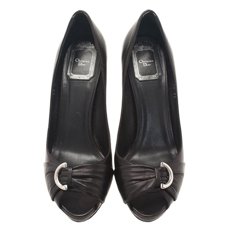 Dior Black Leather Peep Toe Pumps Size 38