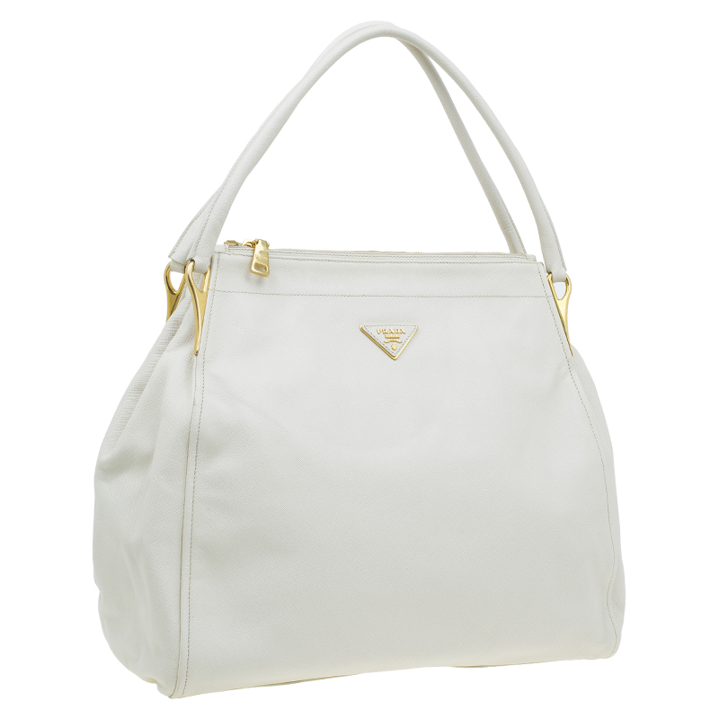 Prada Cream Saffiano Leather Sacca 2 Manici Tote Bag