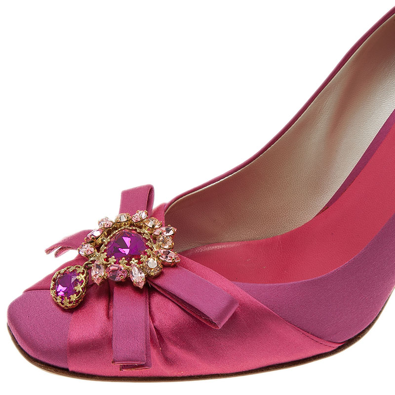 Dior Pink Satin Stone Embellished Bow Detail Peep Toe Pumps Size 39