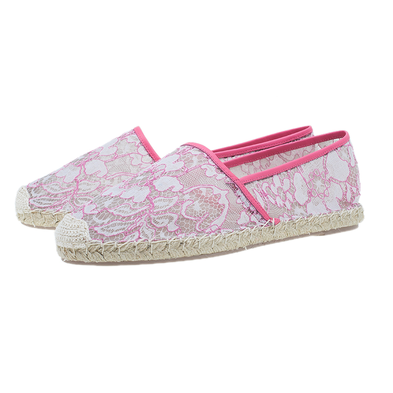 Valentino Pink Lace Espadrilles Size 41