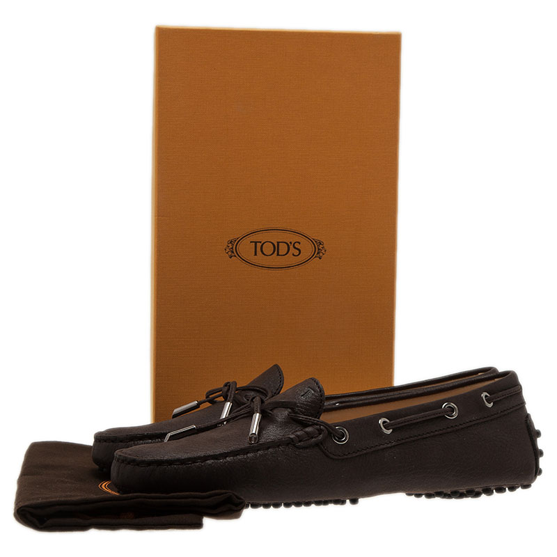 Tod's Brown Leather Bow Loafers Size 39