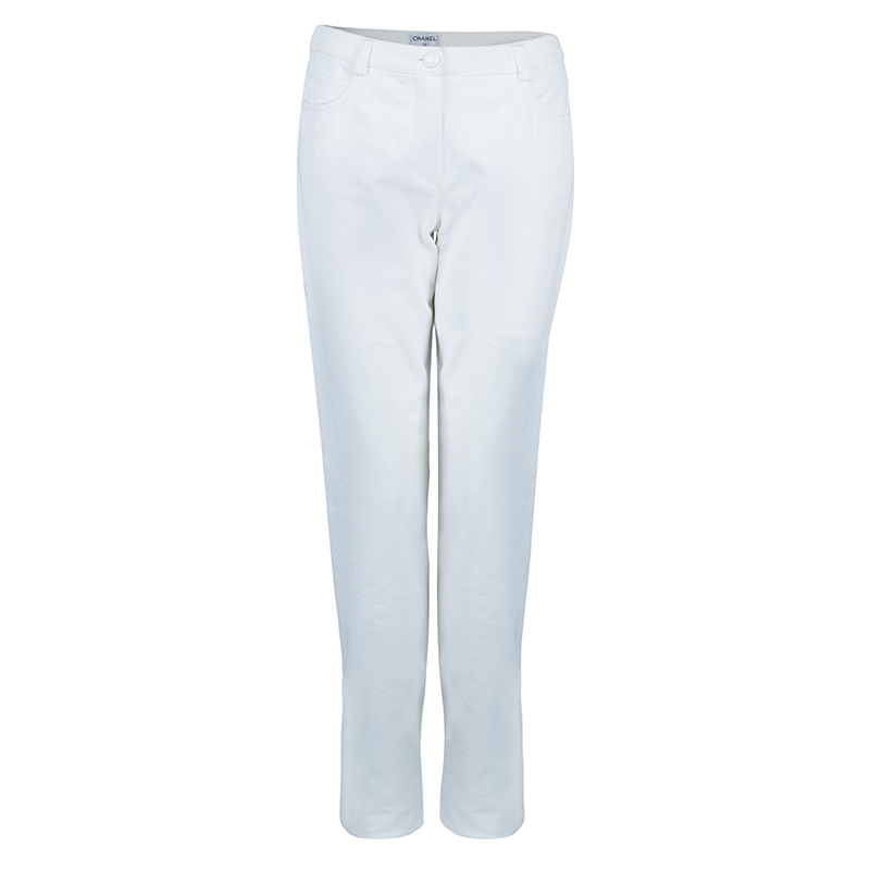 Chanel White Denim Pants M