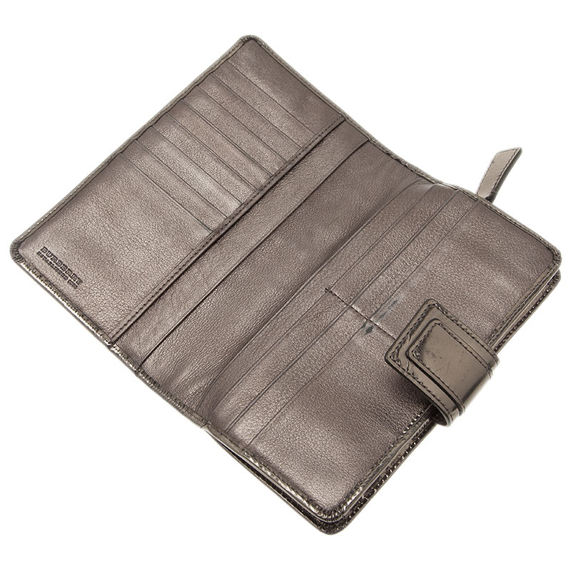 Burberry Metallic Leather and  Novacheck Canvas Penrose Continental Wallet