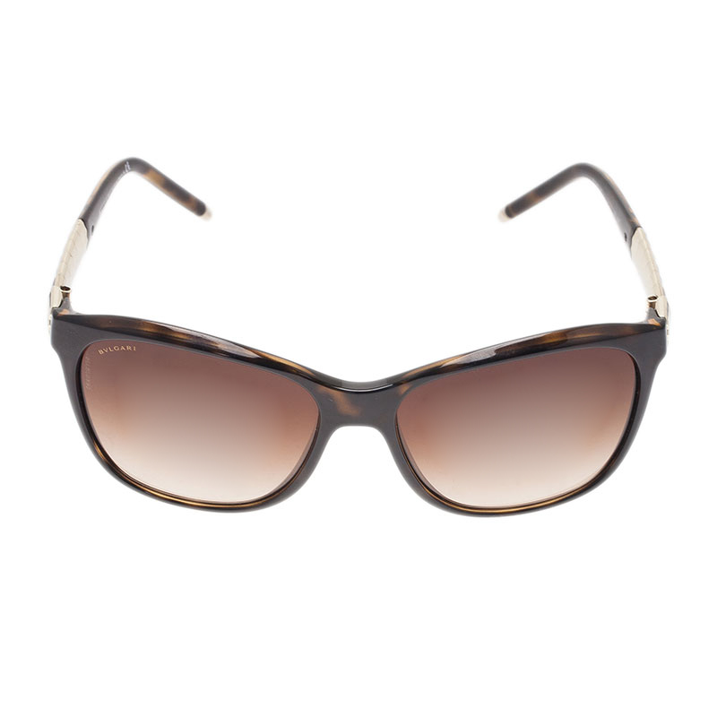 Bvlgari Dark Brown 8104 Ruffle Cat Eye Sunglasses