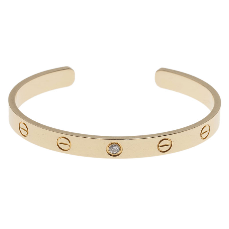 Cartier Love 1 Diamond Yellow Gold Open Cuff Bracelet