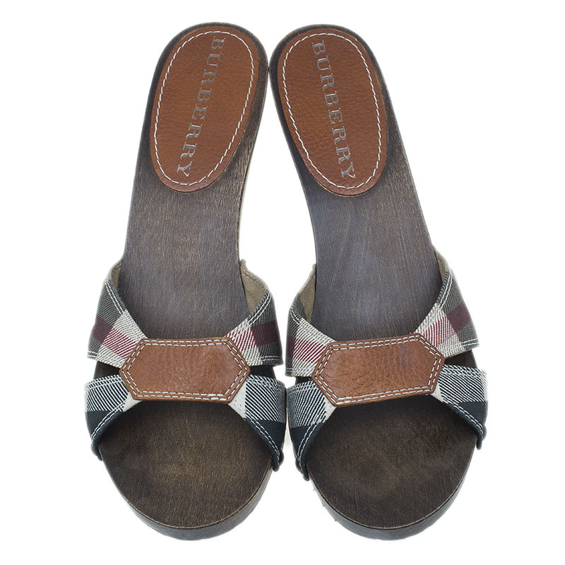Burberry Novacheck Canvas and Leather Wooden Clogs Size 38