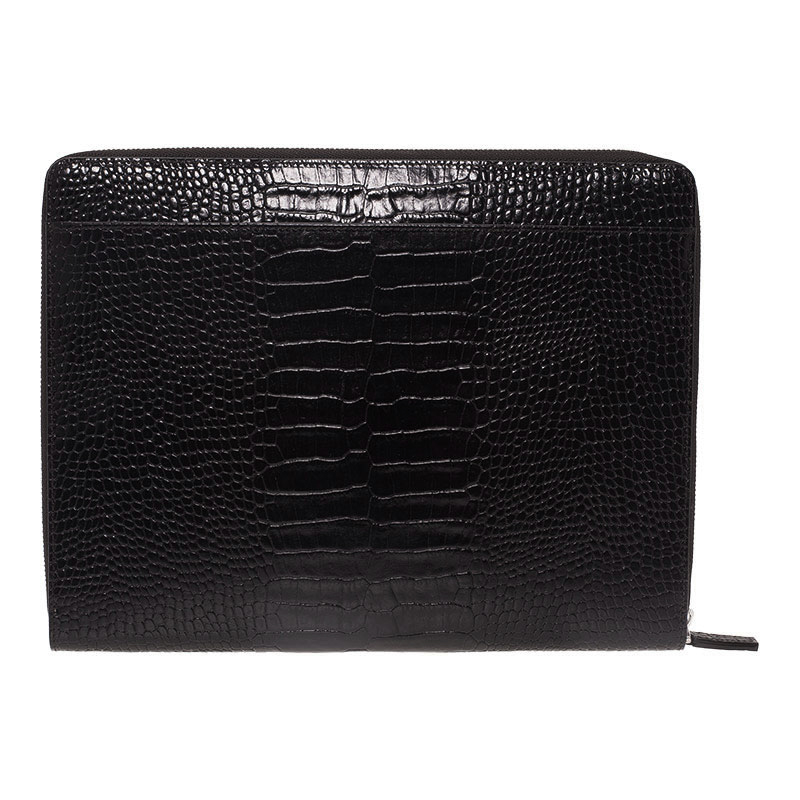 Montblanc Black Croc Embossed Leather Meisterstuck iPad Case