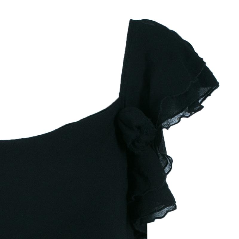 Diane Von Furstenberg Christa Black Silk Ruffle Top S