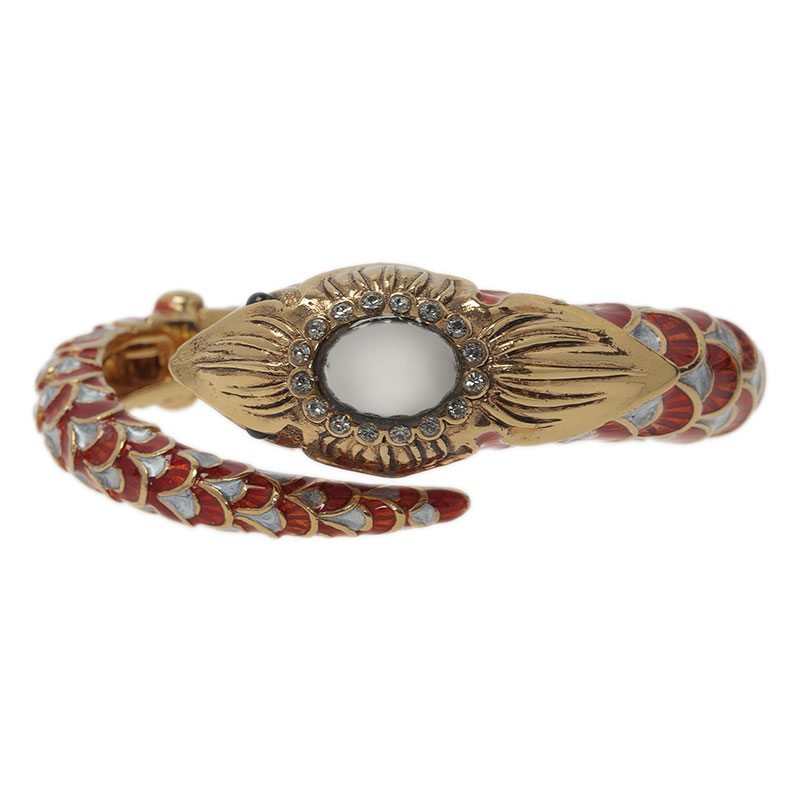 Roberto Cavalli Snake Red Crystal Bangle Bracelet