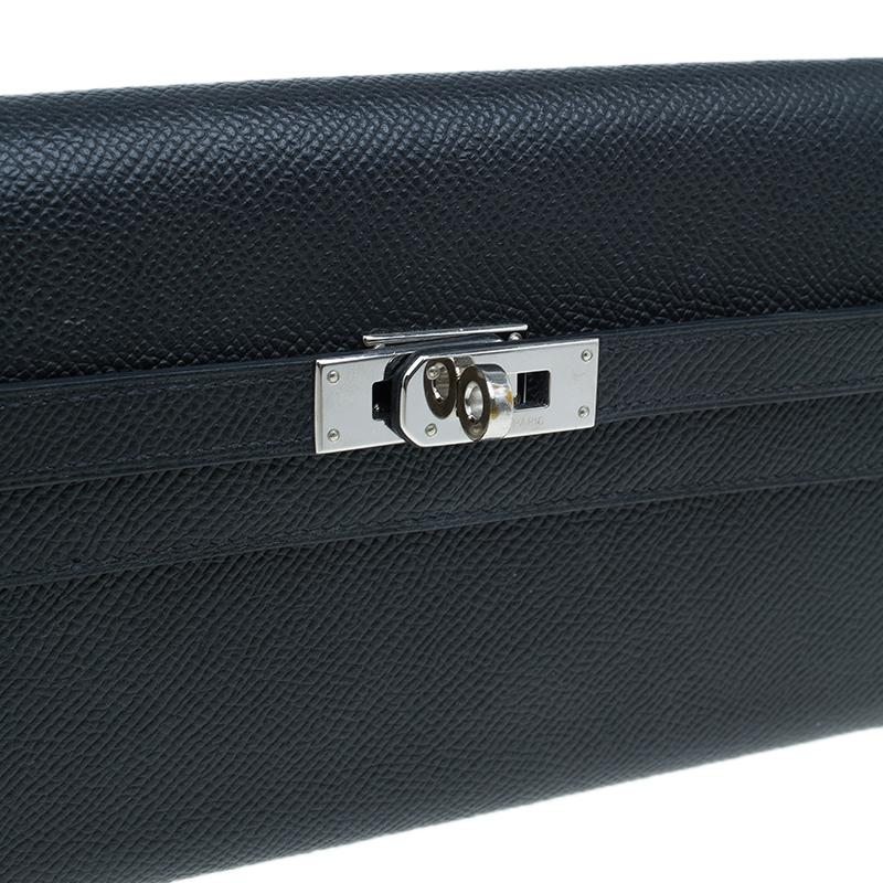 Hermes Black Grain d'H Leather Palladium Plated Kelly Wallet