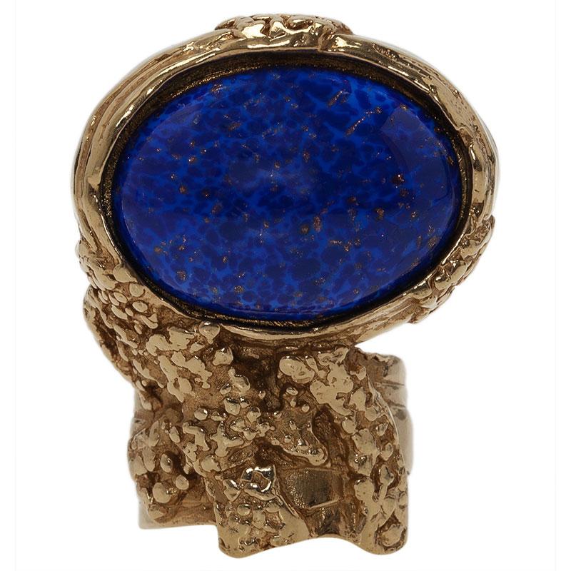 Saint Laurent Paris Arty Blue Gold Tone Ring Size 52