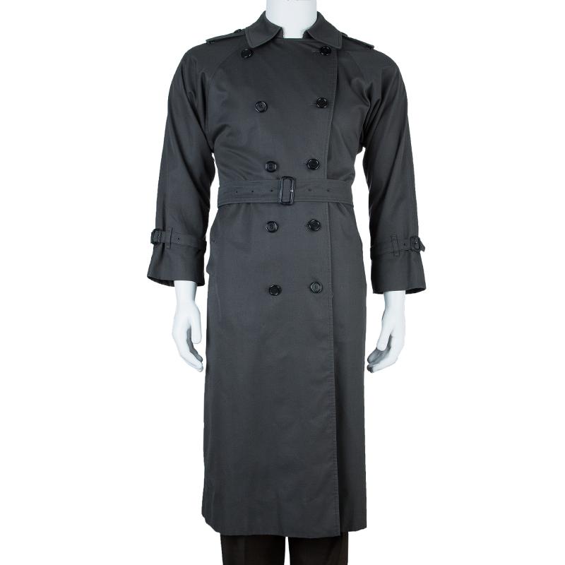 Burberry Prorsum Men's Grey Double-Breasted Trenchcoat S