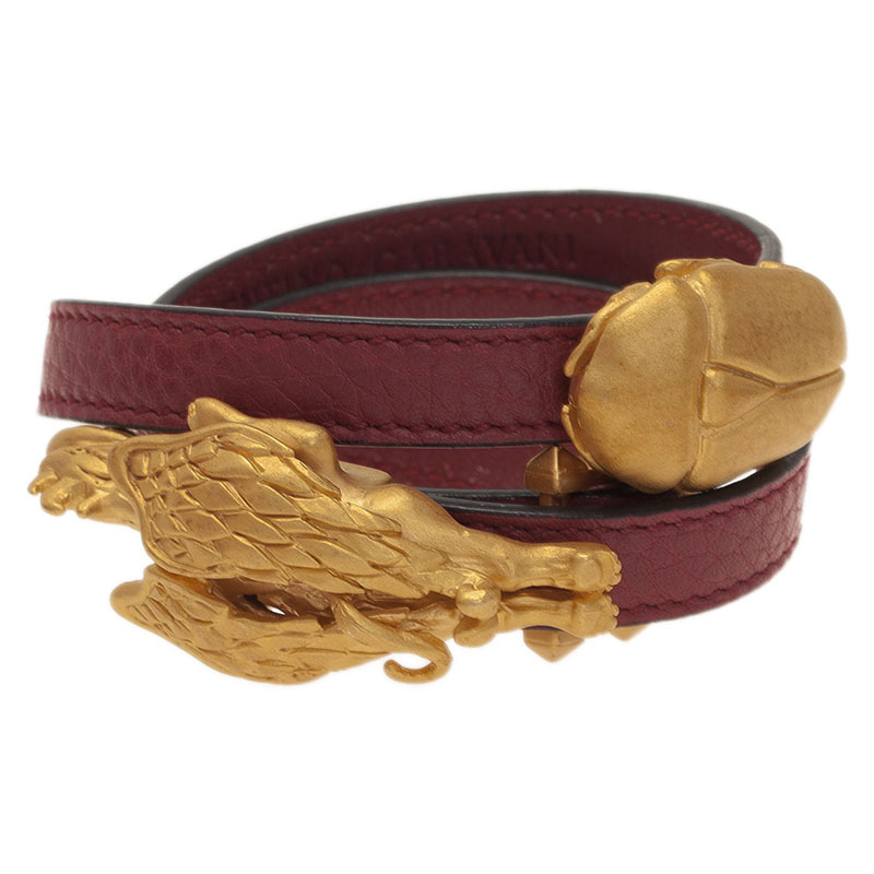 Valentino Scarab And Gryphon Red Leather Double Wrap Bracelet