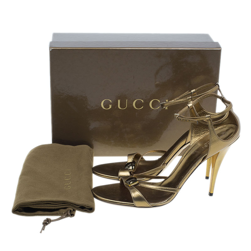 Gucci Bronze Jeweled Leather Ankle Strap Sandals Size 41
