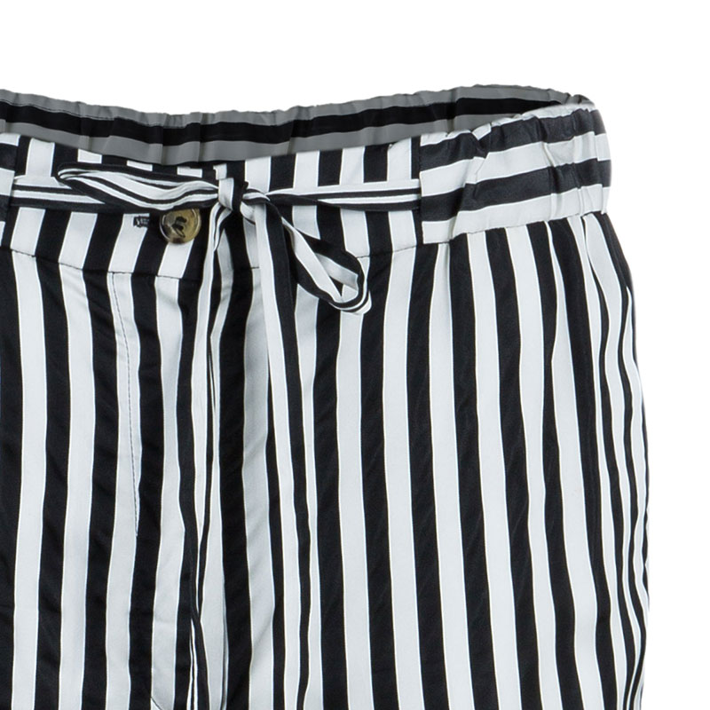 Celine Monochrome Satin Striped Pants S