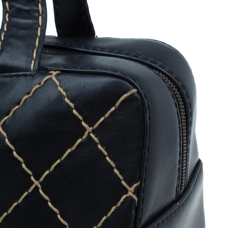 Chanel Black Leather Wild Stitch Bowling Bag