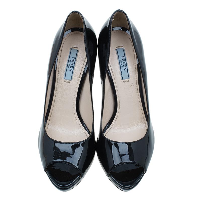 Prada Black Patent Peep Toe Platform Pumps Size 36