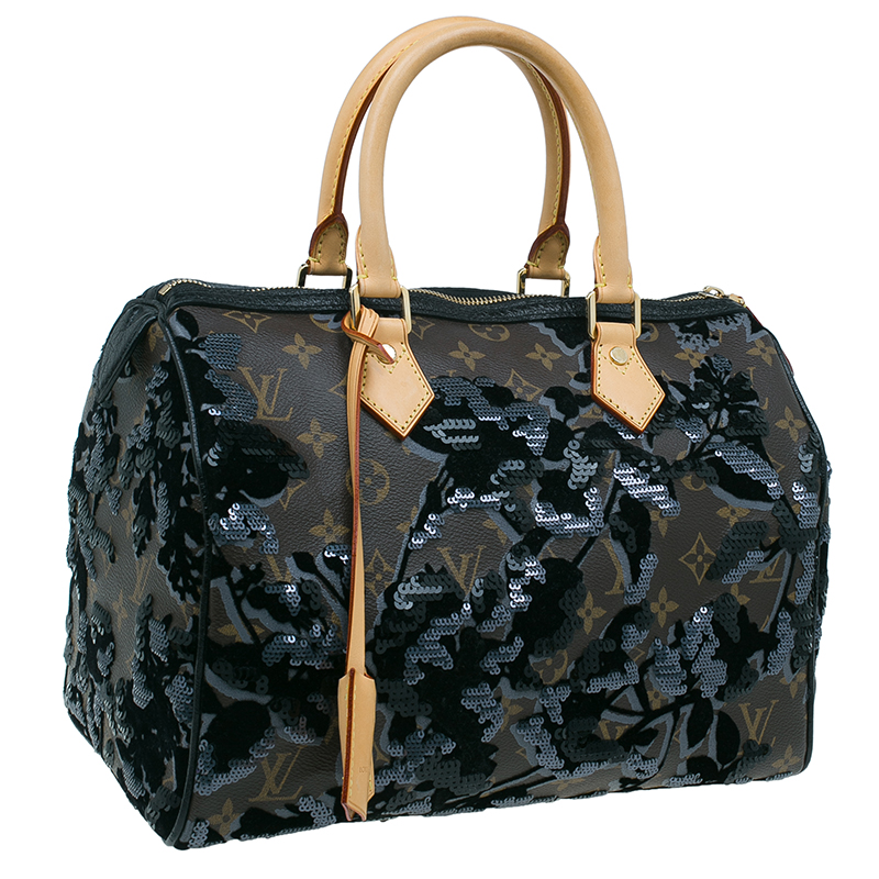Louis Vuitton Monogram Canvas Limited Edition Fleur De Jais Speedy 30 Bag