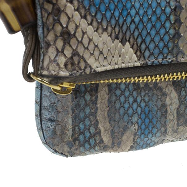 Gucci Multicolor Python Bamboo Tassel Clutch