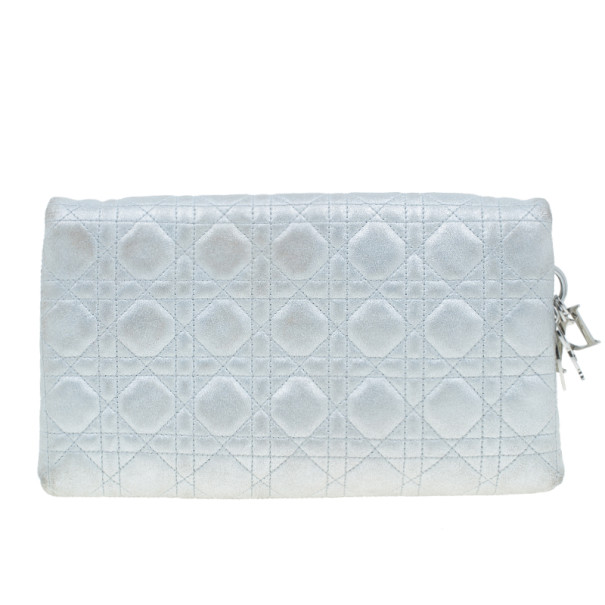 Dior Metallic Silver Leather Cannage Midnight Clutch