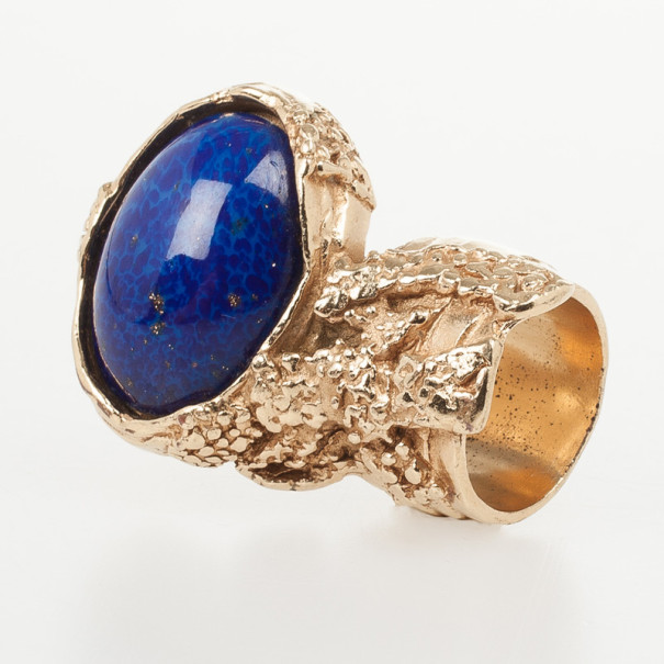Saint Laurent Lapis Arty Oval Shape Ring Size 53