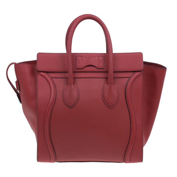 Celine Red  Pomelo Leather Mini Luggage Tote