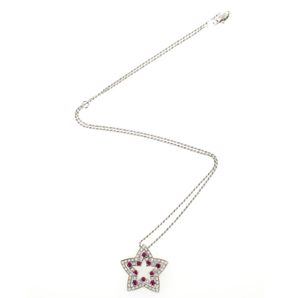Damiani Belle Epoque Diamonds and Rubies Star Pendant Necklace