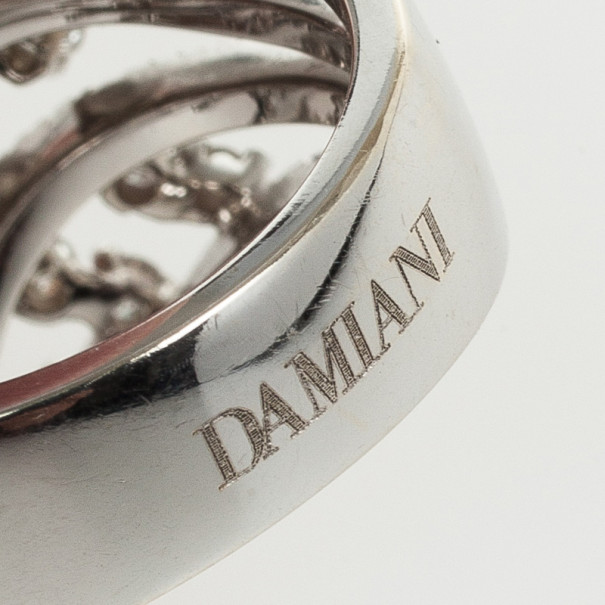 Damiani 18 K White Gold Diamond Ring Size 57