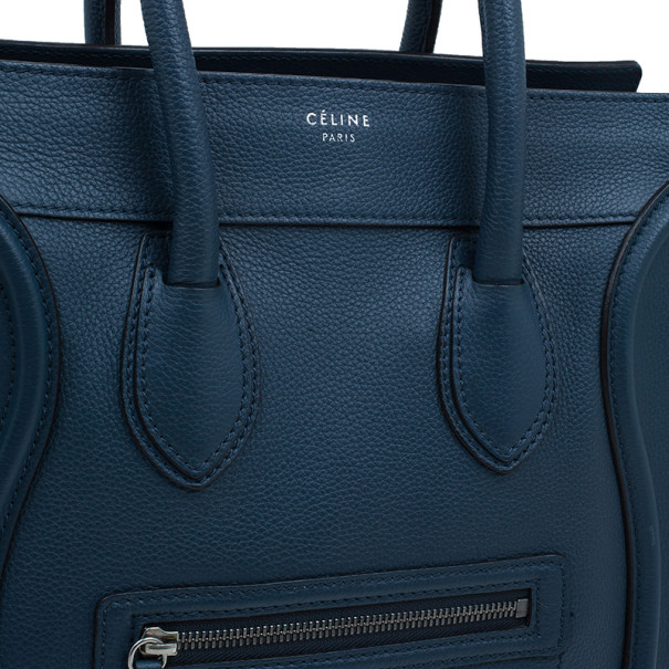 Celine Navy Blue Pomelo Leather Mini Luggage Tote