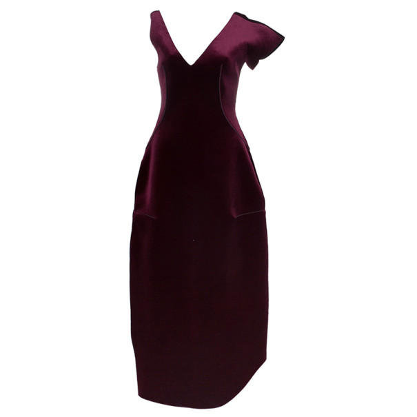 Emporio Armani Crimson Neoprene Velvet Structured Gown S - Buy ...